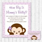 Purple Monkey How Big Is Mommys Belly Baby Shower Game #A388