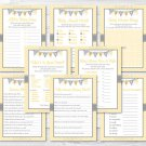 Yellow Chevron Baby Shower Games Pack - 8 Printable Games #A356