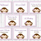 Purple Monkey Baby Shower Table Signs - 8 Printable Signs #A388