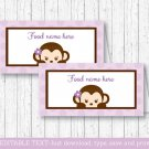 Purple Monkey Buffet Tent Cards & Place Cards Editable PDF #A388
