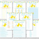Rubber Duck Baby Shower Games Pack - 8 Printable Games #A367