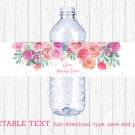 Pink Watercolor Flowers Water Bottle Labels Printable Editable PDF #A385