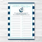 Nautical Anchor Baby Shower Baby ABCs Game Printable #A222