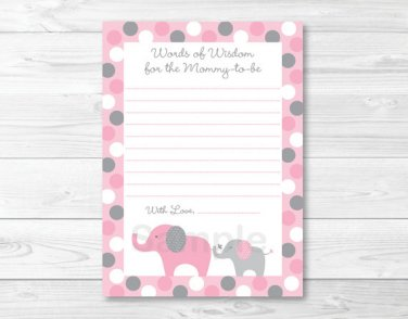 Pink & Gray Polka Dot Elephant Printable Baby Shower Mommy Advice Cards #A160