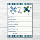 Blue & Green Airplane Printable Baby Shower Wishes For Baby Advice Cards #A112