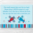 Airplane Blue & Red Aviator Printable Baby Shower Book Request Cards #A112
