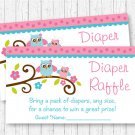 Pink Woodland Owl Printable Baby Shower Diaper Raffle Tickets #A162