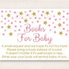 Twinkle Star Pink & Gold Printable Baby Shower Book Request Cards #A358