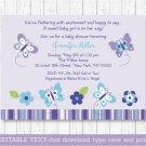 Purple Butterflies Printable Baby Shower Invitation Editable PDF #A218