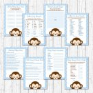 Mod Pop Monkey Blue Baby Shower Games Pack - 8 Printable Games #A175