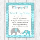 Teal Chevron Elephant Dont Say Baby Baby Shower Game Printable #A374