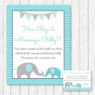 Teal Chevron Elephant How Big Is Mommys Belly Baby Shower Game #A374