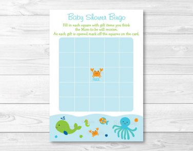 Blue Under The Sea Nautical Octopus Whale Printable Baby Shower Bingo Cards #A237