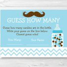 "Mustache Little Man Printable Baby Shower ""Guess How Many?"" Game Cards #A376"