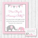 Pink Chevron Elephant How Big Is Mommys Belly Baby Shower Game #A186
