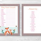 "Woodland Girl Fox Printable Baby Shower ""Baby Word Scramble"" Game Cards #A244"