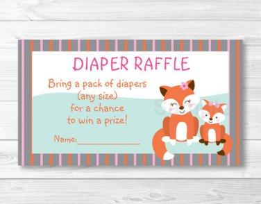 Woodland Girl Fox Printable Baby Shower Diaper Raffle Tickets #A244
