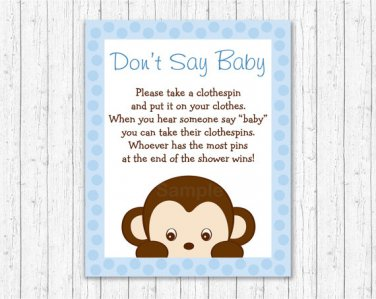 Mod Pop Monkey Blue Dont Say Baby Baby Shower Game Printable #A175