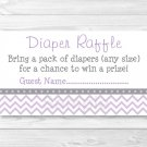 Purple & Grey Chevron Printable Baby Shower Diaper Raffle Tickets #A370