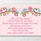 Sweet Baby Owl Pink Love Birds Printable Baby Shower Book Request Cards #A253