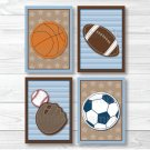 Sports All Star Football Basketball Baseball Soccer Printable Nursery Wall Art #A119