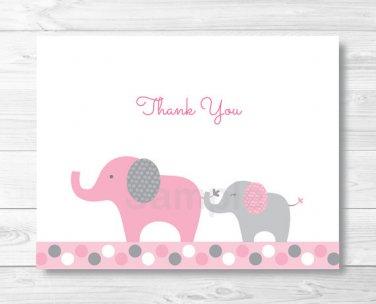 Pink & Gray Polka Dot Elephant Thank You Card Printable #A160