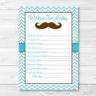 Little Man Mustache Chevron Printable Baby Shower Wishes For Baby Advice Cards #A376