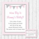 Modern Pink Chevron How Big Is Mommys Belly Baby Shower Game #A127