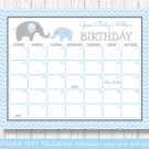 Blue Chevron Elephant Baby Due Date Calendar Editable PDF #A187
