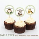 Safari Jungle Animals Cupcake Toppers Party Favor Tags Editable PDF #A169