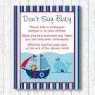 Nautical Pirate Whale Dont Say Baby Baby Shower Game Printable #A287