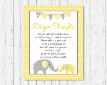 Yellow Chevron Elephant Diaper Thoughts Late Night Diaper Baby Shower Game #A181