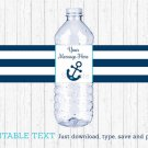 Nautical Anchor Water Bottle Labels Printable Editable PDF #A222