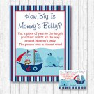 Nautical Pirate Whale How Big Is Mommys Belly Baby Shower Game #A287