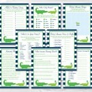 Preppy Alligator Baby Shower Games Pack - 8 Printable Games #A157