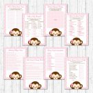 Girl Pop Monkey Pink Baby Shower Games Pack - 8 Printable Games #A167