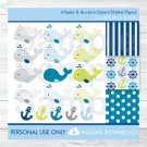 Baby Whale Anchor Nautical Clipart & Digital Paper #A215