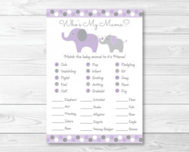 Lavender Elephant Baby Shower Baby Animal Match Game Printable #A242