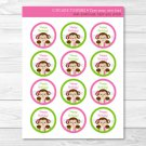 Girl Pop Monkey Pink & Green Cupcake Toppers Party Favor Tags Editable PDF #A270