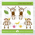 Monkey Jungle Clipart #A392
