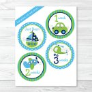 Car Sailboat Airplane Monthly Milestone DIY You Print PDF Stickers & Iron On Transfers #A143