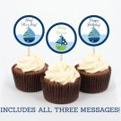 Sail Away Nautical Sailboat Blue Cupcake Toppers Party Favor Tags Printable #A210