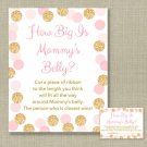 Blush Pink & Gold Glitter Dots How Big Is Mommys Belly Baby Shower Game #A380