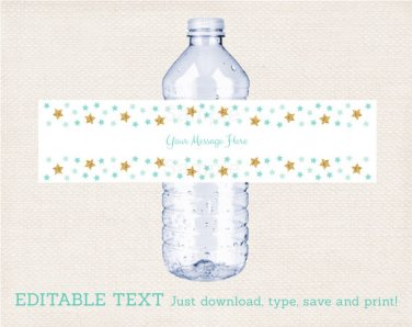 Twinkle Little Star Mint Green & Gold Water Bottle Labels Printable Editable PDF #A381
