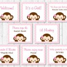 Pink Monkey Baby Shower Table Signs - 8 Printable Signs #A167