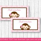 Mod Pop Monkey Pink Buffet Tent Cards & Place Cards Editable PDF #A167