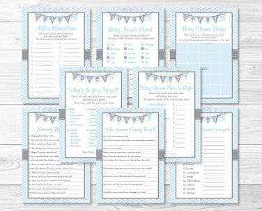 Blue Chevron Baby Shower Games Pack - 8 Printable Games #A260