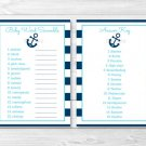 "Nautical Anchor Printable Baby Shower ""Baby Word Scramble"" Game Cards #A222"
