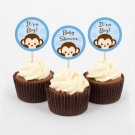 Pop Monkey Blue Cupcake Toppers Party Favor Tags Printable #A175