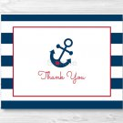 Nautical Anchor Blue & Red Thank You Card Printable #A259
